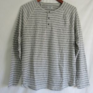 Lucky Brand Gray Stripe Henley Style Knit Tee L